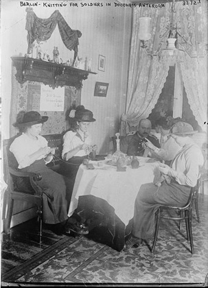 Women knitting for the war effort in Berlin, World War One