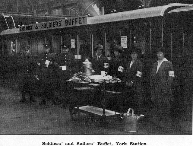Soldiers' and Sailors' Buffet, York Station. NER Magaziine Nov 1o15
