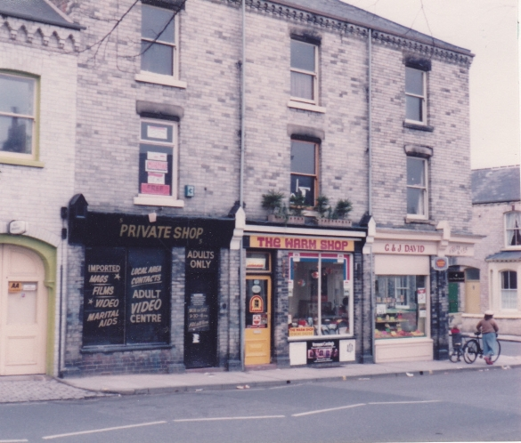 Scarcroft Road shops in 1984, where the Private shop later became the Hospice charity shop.
