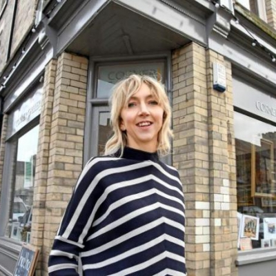 Kay Dower outside her new gallery (courtesy of York Press)