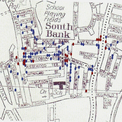 The map of South Bank shows current shops/businesses (red dots) and former shops (blue dots).