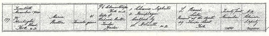 Maria Button death certificate